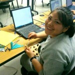 Cadet Nancy Tapia-Loza assembles parts she designed and fabricated in 3D printing class