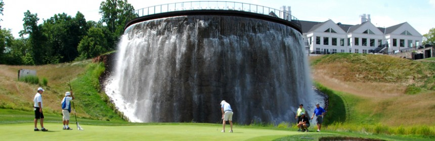 Waterfall and clubhouse at Trump National Golf Club, Washington, DC