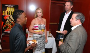 Rashad Byrd with (L-R) Carrie and Pete Schourek, and Jones Lang LaSalle Managing Director Harry Klaff at VIP Reception August 7, 2014