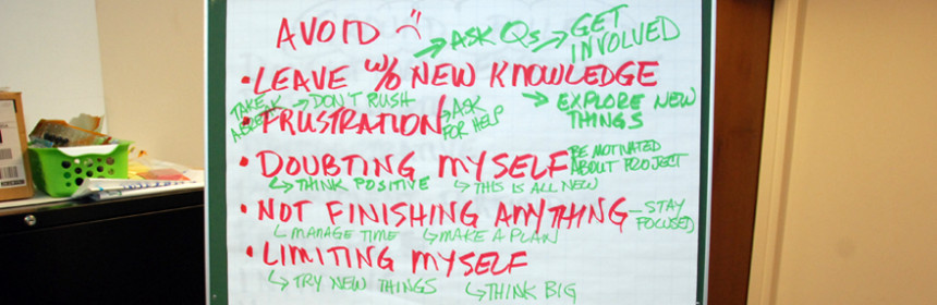List of how to achieve goals made by 3D ThinkLink Lab students
