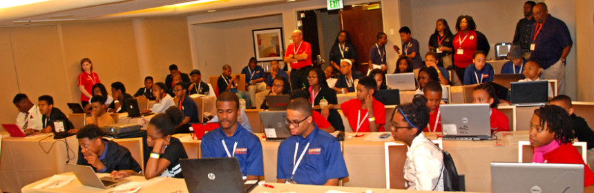 Students are introduced to 3D design and printing in a workshop presented by YouthQuest at the National Society of Black Engineers Convention in Anaheim, California March 26, 2015