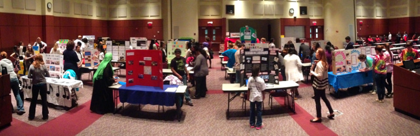 Teams set up their project displays for the 2015 Step Up Loudoun Youth competition, sponsored by the YouthQuest Foundation