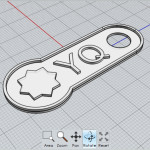 View of design for 3D-printed tag in Moment of Inspiration modeling software