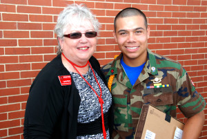 YouthQuest Co-Founder and President Lynda Mann with Adonis Gonzales, 3D ThinkLInk graduate from Freestate ChalleNGe Academy in June 2013