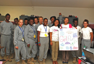 Bria Toussaint and Royal Phillips led GRL-PWR mentor training for cadets at South Carolina Youth ChalleNGe Academy in May, 2013