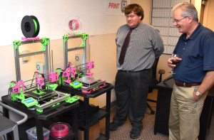 Pink Frog 3D printers on display in the 3D ThinkLink Lab during YouthQuest's 10th anniversary celebration