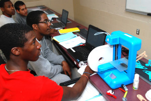3D ThinkLink students work with a Cube 2 printer in class at DC's Capital Guardian Youth ChalleNGe Academy
