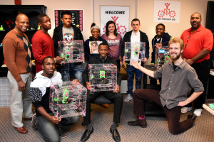 The teams show the JellyBox 3D printers they built during January 2016 immersion week in YouthQuest's 3D ThinkLink Creativity Lab