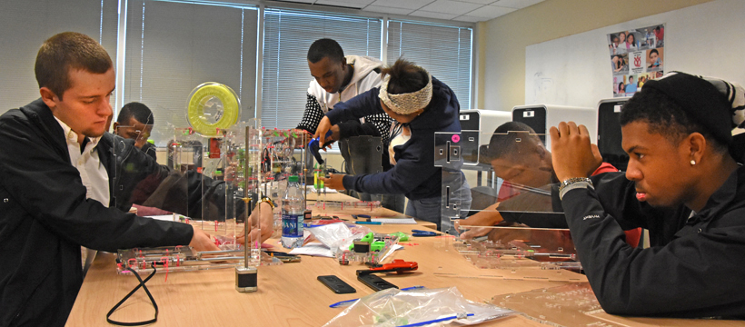 Advanced 3D ThinkLink students assemble JellyBox 3D printer kits during immersion lab week in January 2016