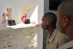 South Carolina Youth ChalleNGe Academy Cadets look at a display on 3D printing in medicine during Vocational Orientation tour of 3D Systems in Rock Hill, SC, October 20, 2016.