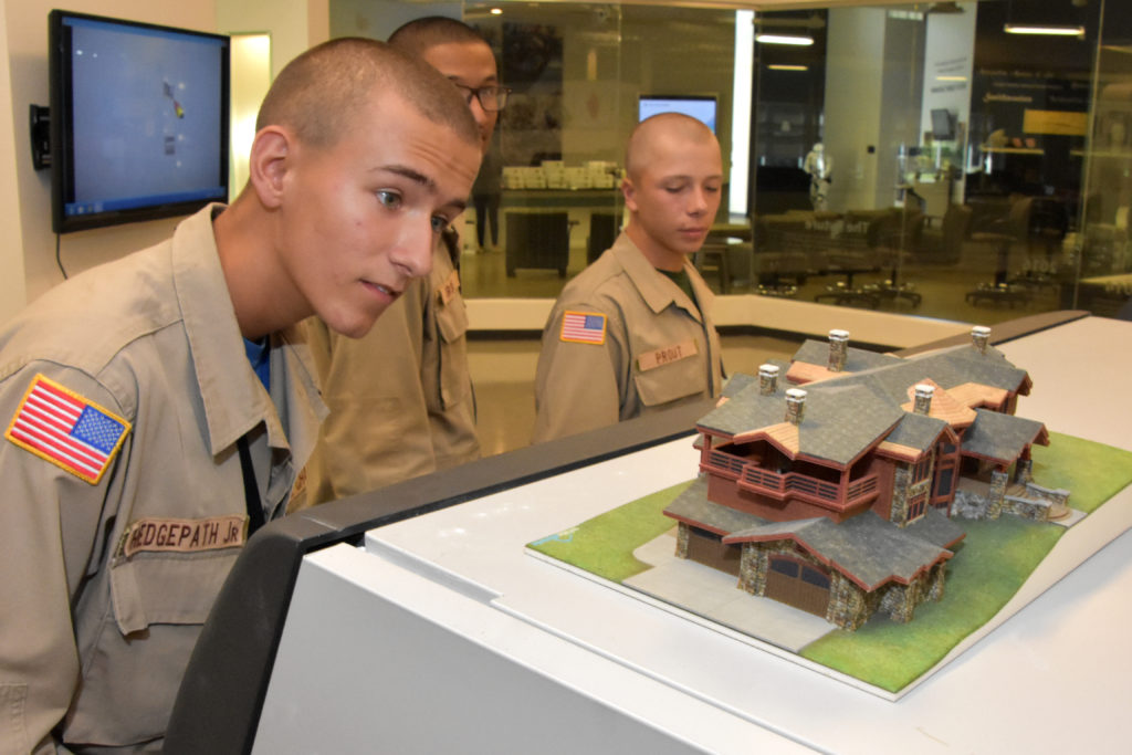 South Carolina Youth ChalleNGe Academy Cadets from YouthQuest's 3D ThinkLink class check out a 3D-printed architectural model during their Vocational Orientation tour of 3D Systems in Rock Hill, SC, on October 20, 2016.
