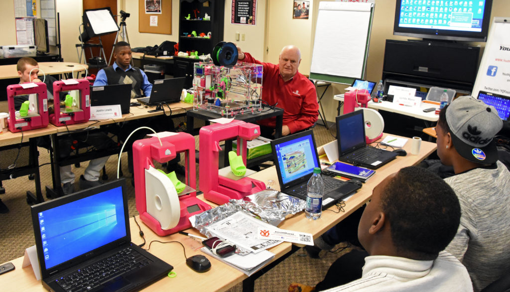 YouthQuest Foundation Director of Instruction Tom Meeks conducts advanced training for students in the 3D ThinkLink Creativity Lab on January 6, 2016 in Chantilly, Virginia.