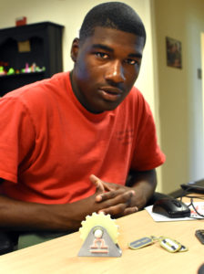 Capital Guardian Youth ChalleNGe Academy Cadet LaMarcus Corley in YouthQuest's 3D ThinkLink Creativity Lab during Youth Mentor training in June, 2017