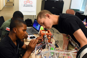 reestate ChalleNGe Academy Cadets Stephen Brown and David Kelly in Freestate ChalleNGe Academy Cadets Stephen Brown and David Kelley in advanced training in YouthQuest's 3D ThinkLink Creativity Lab in June 2017