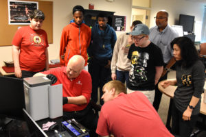 PHILLIPS School students and teachers visit YouthQuest's 3D ThinkLink Creativity Lab in April, 2017