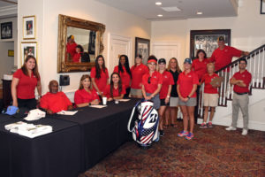 Volunteers at the golf tournament in August