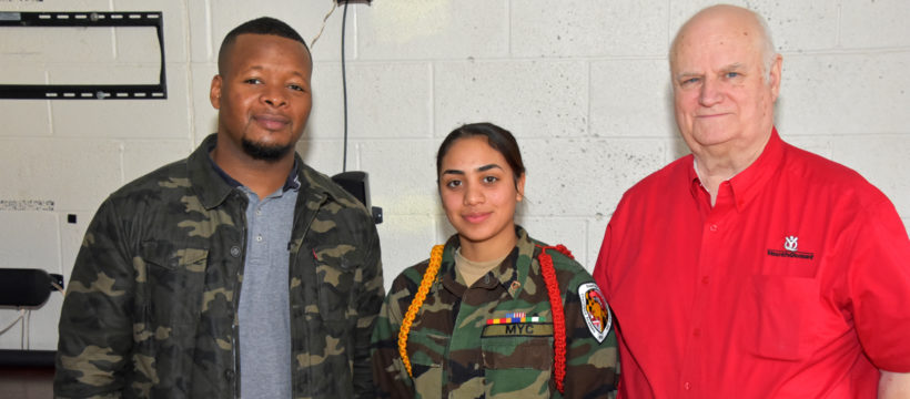3D ThinkLink scholarship essay contest winner Sthephanie Alvarez-Vega with Freestate ChalleNGe Academy instructor Jamarr Dennis and YouthQuest Director of Instruction Tom Meeks